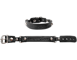 Slim black leather bracelet with a buckle MOR